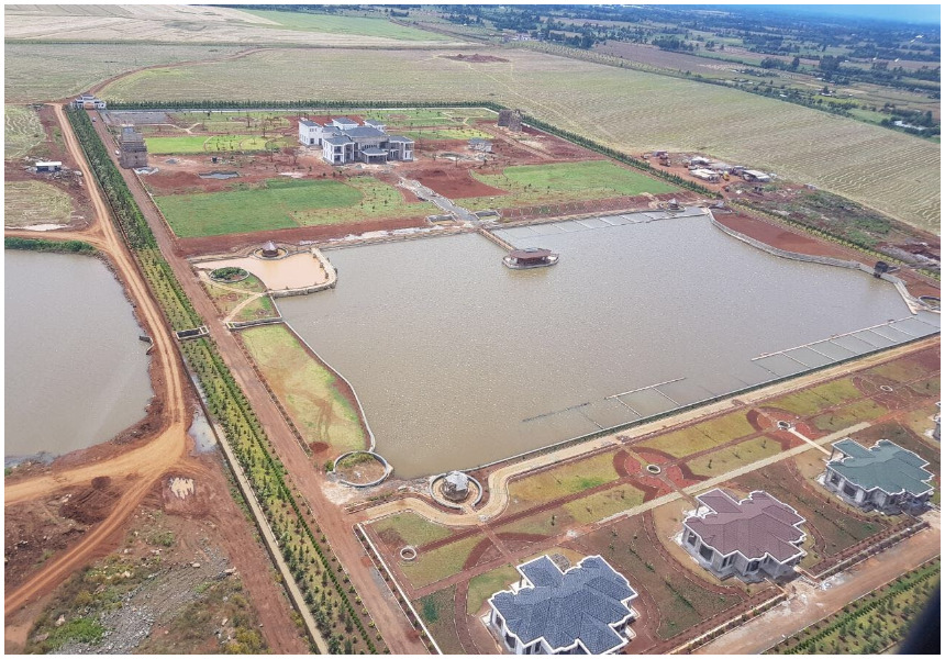 Aerial photos reveal colossal scale of the DP Ruto's 1.2 billion home which has a man-made lake (Photos)