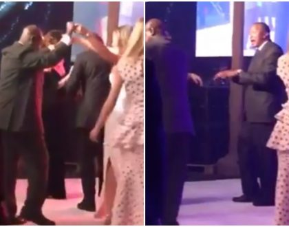 Presidents Uhuru and Museveni dance the night away with Caucasian hotties at State House dinner (Video)