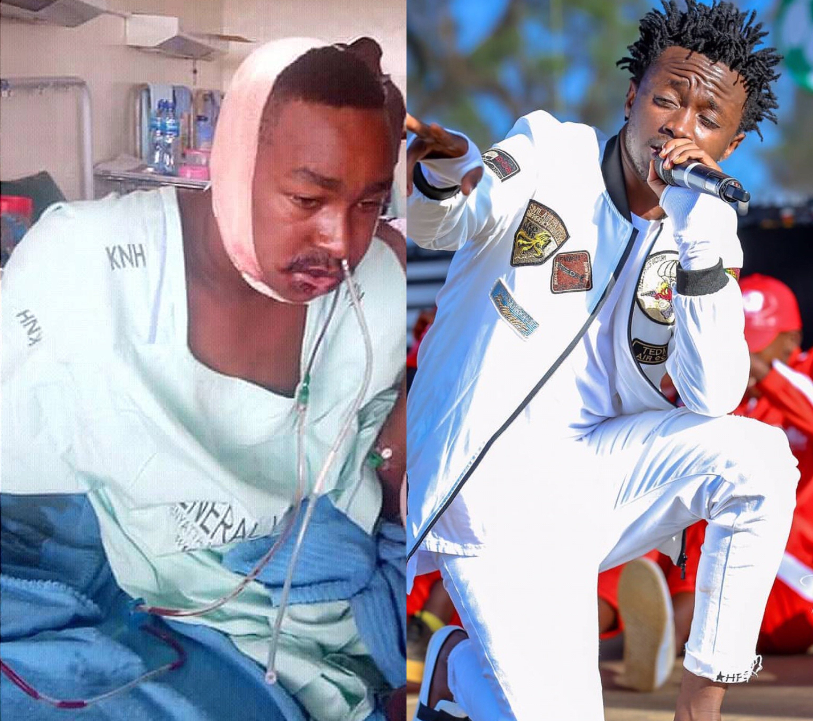 Bahati's visits his biggest fan at KNH after he was diagnosed with a cancerous tumor