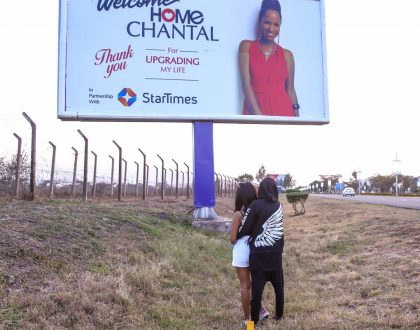 Fans react to Eric Omondi's romantic billboard welcoming his girlfriend back home
