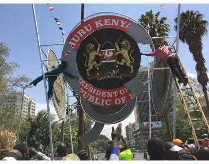 Babu Owino congratulates Nasa foot soldiers as they tear down landmarks associated with Uhuru Kenyatta (Photos)