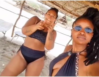 Nazizi flaunts her bikini body on the sandy beach ofLamu Island (Photos + Video)