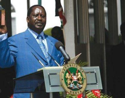 Uproar! Raila Odinga is sworn in solo as Kalonzo 'the watermelon' skips the event