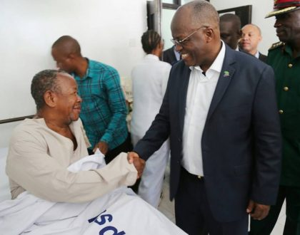 President Magufuli visits comedian Mzee Majuto after he was hospitalized