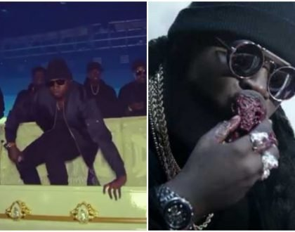 Going the satanic route? Khaligraph seen eating raw kidney after the grand entrance in a white coffin