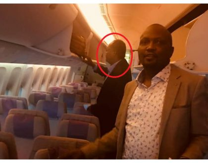 Moses Kuria flies the same Emirates EK 722 flight that deported Miguna Miguna to Dubai (video)