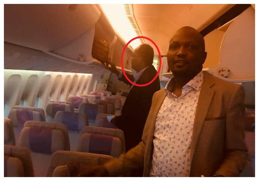Moses Kuria flies the same Emirates EK 722 flight that deported Miguna Miguna to Dubai (video)