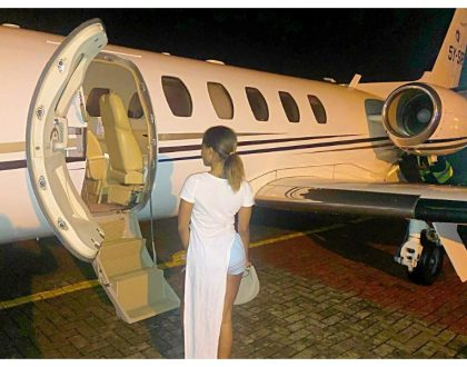 Photos of private jet that ferried Sonko, socialite Lola Hannigan and other celebs to the birthday party of president Uhuru's niece