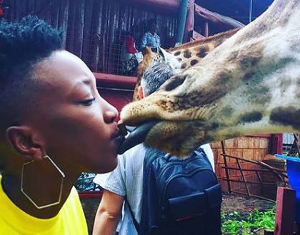 You just cheated on Nameless! Wahu Kisses a giraffe, Kenyans react online