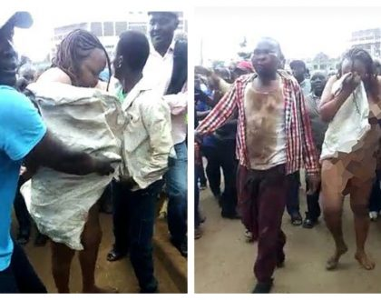Elizabeth Wanjiru Kamau stripped and forced to walk bare in the streets of Embu after conning MPesa agent