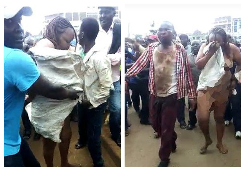 Elizabeth WanjiruKamau stripped and forced to walk bare in the streets of Embu after conning MPesa agent