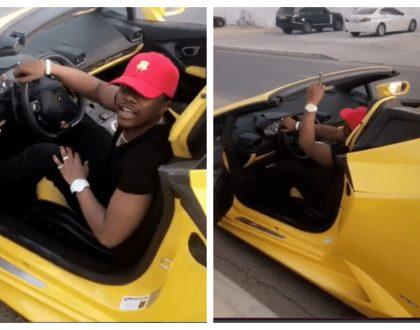 """Hio ni rental car umepewa upige ress tu!"" Internet hates on Rayvanny as he shows off yellow Lamborghini"