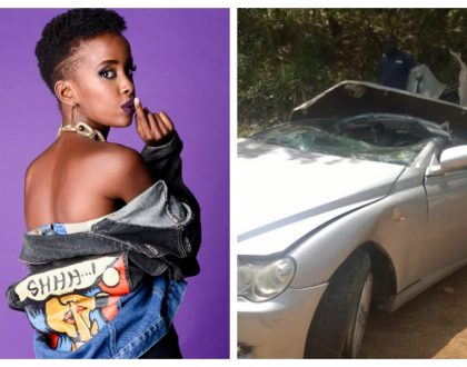 Rapper Wangechi shows scars on her belly that she suffered in an accident that claimed her best friend (Photos)