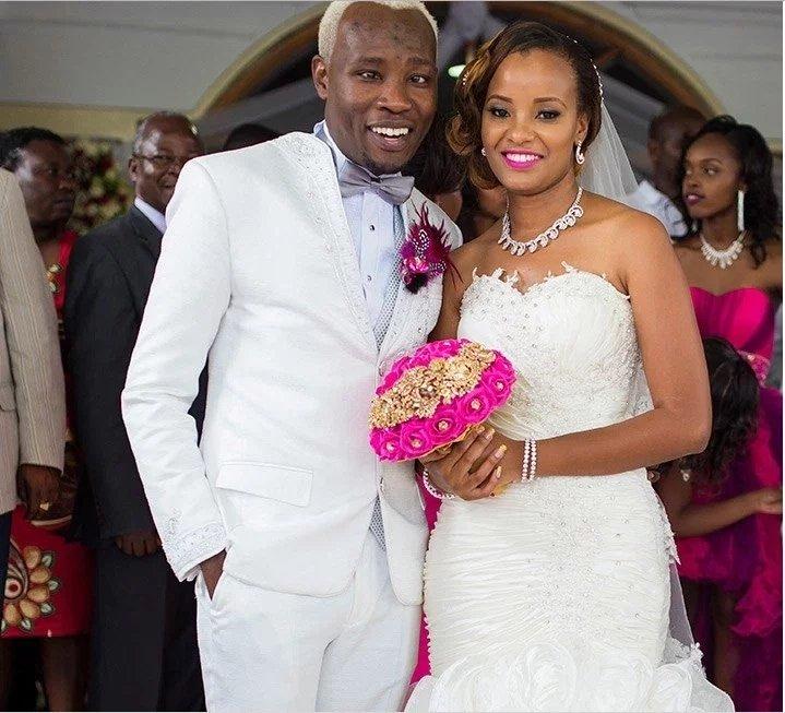Daddy Owen and his wife Farida Wambui during their wedding