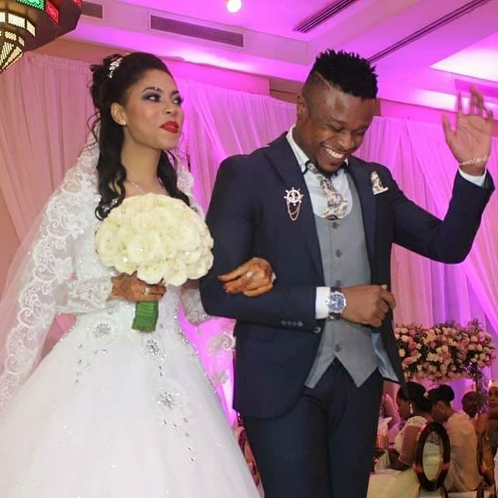 Abdu Kiba and his wife during their white wedding