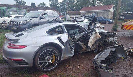 John Macharia's Porsche at the police station