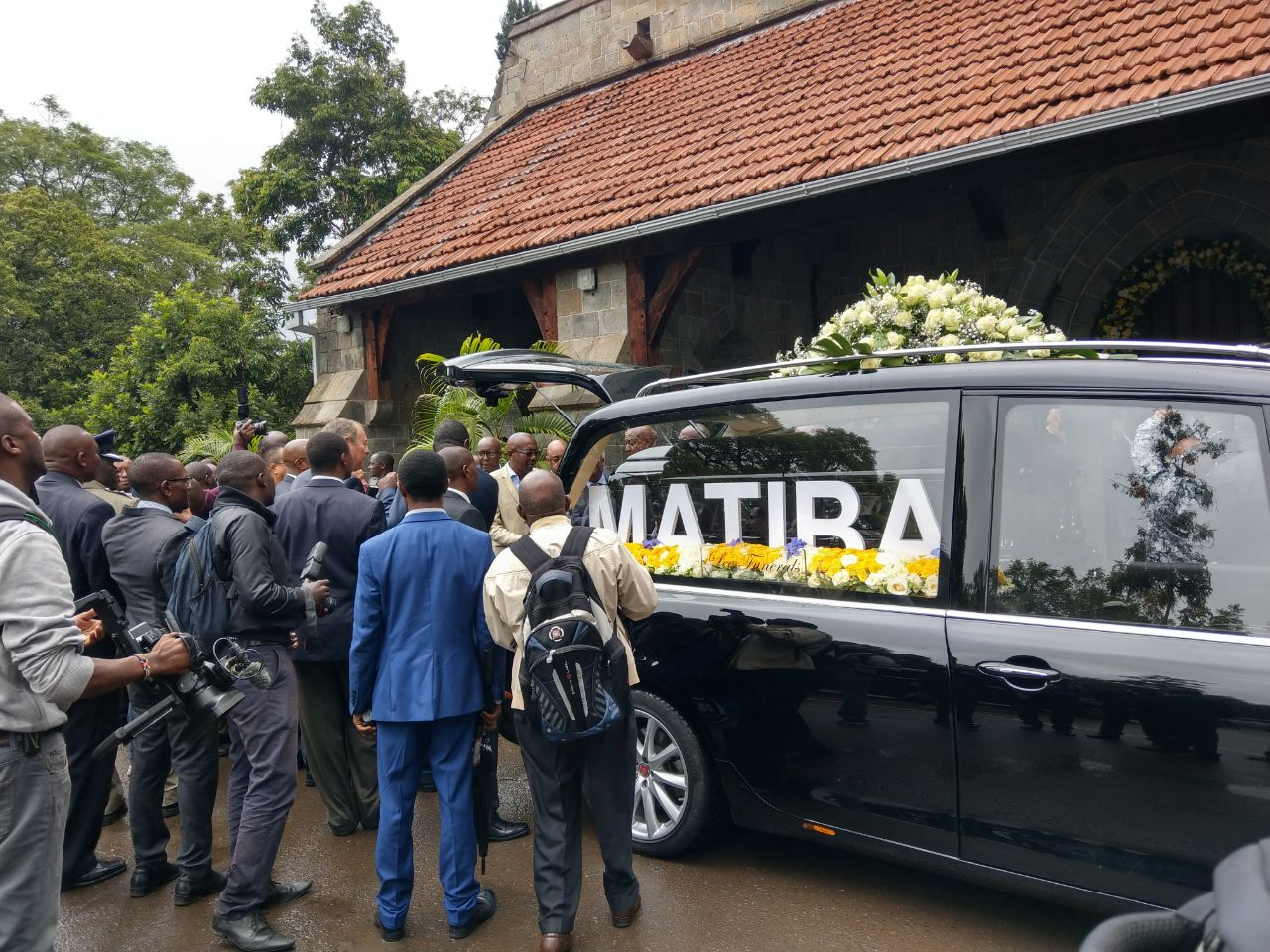 Hearse carrying Matiba's body outside All Saints Cathedral Church on April 25, 2018.