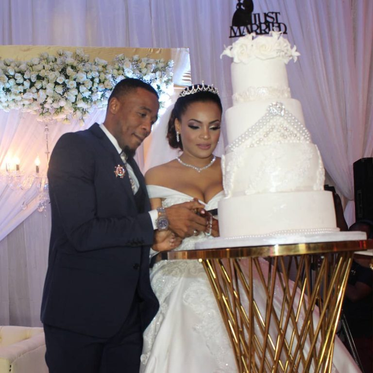 Alikiba with his newlywed wife Amina Khaleef during their white wedding in Dar