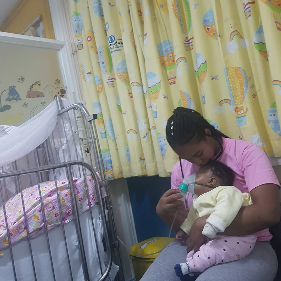 Diana Marua and her daughter at the hospital