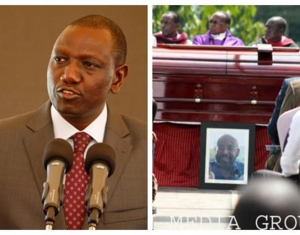 """My son was involved in an accident at the same spot"" Ruto tells mourners as SK Macharia's son is laid to rest (Photos)"