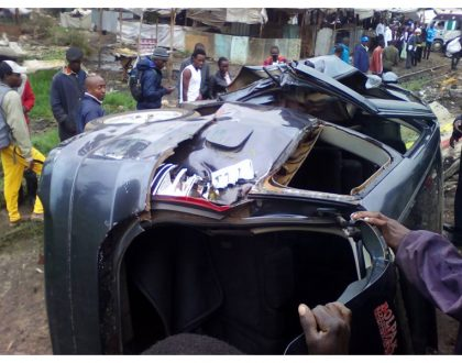 Two people cheat death as commuter train crashes into their car in Mutindwa (Photos)