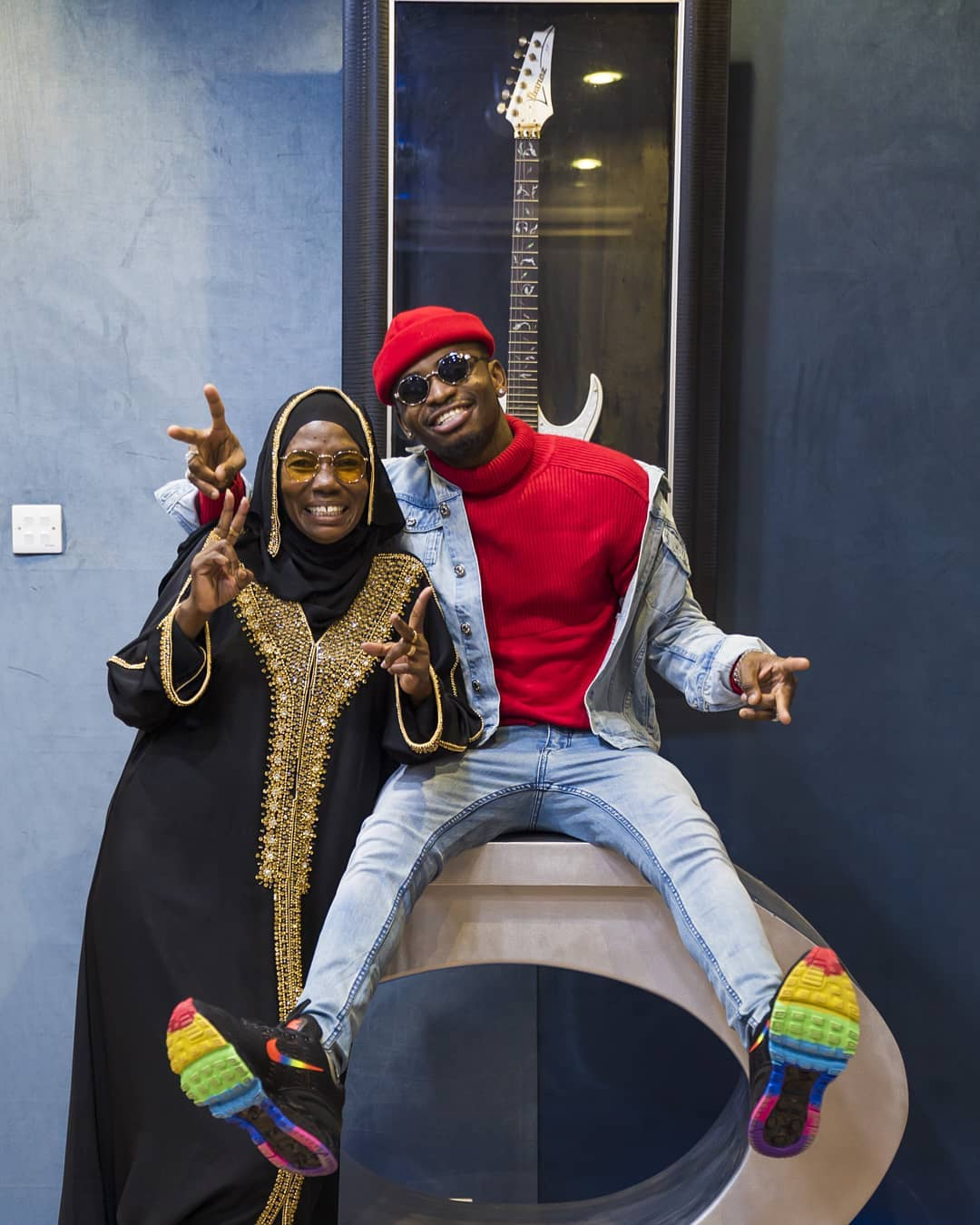 Diamond with his mother having fun at Wasafi headquarters