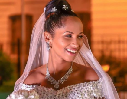 Eric Omondi's girlfriend stunts in a beautiful white wedding dress(photos)