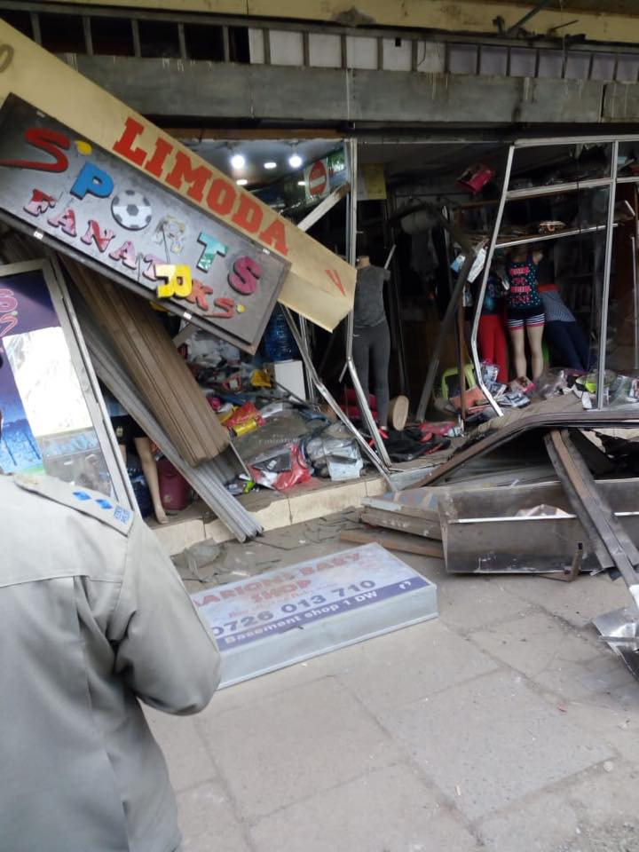 Drunk Matatu driver drives straight into a shop in CBD then runs away(photos)