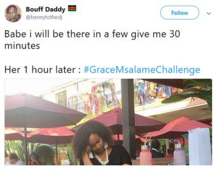 One too many?Internet goes wild as Grace Msalame falls asleep in public#GraceMsalameChallenge