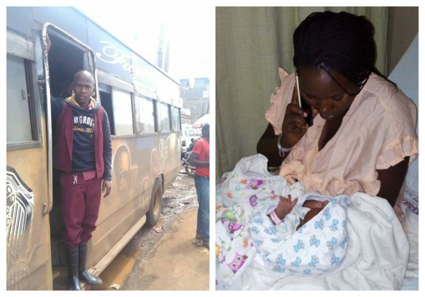 It's a baby boy! Wife of honest matatu tout delivers baby at Nairobi Hospital, no bills charged (Photos)