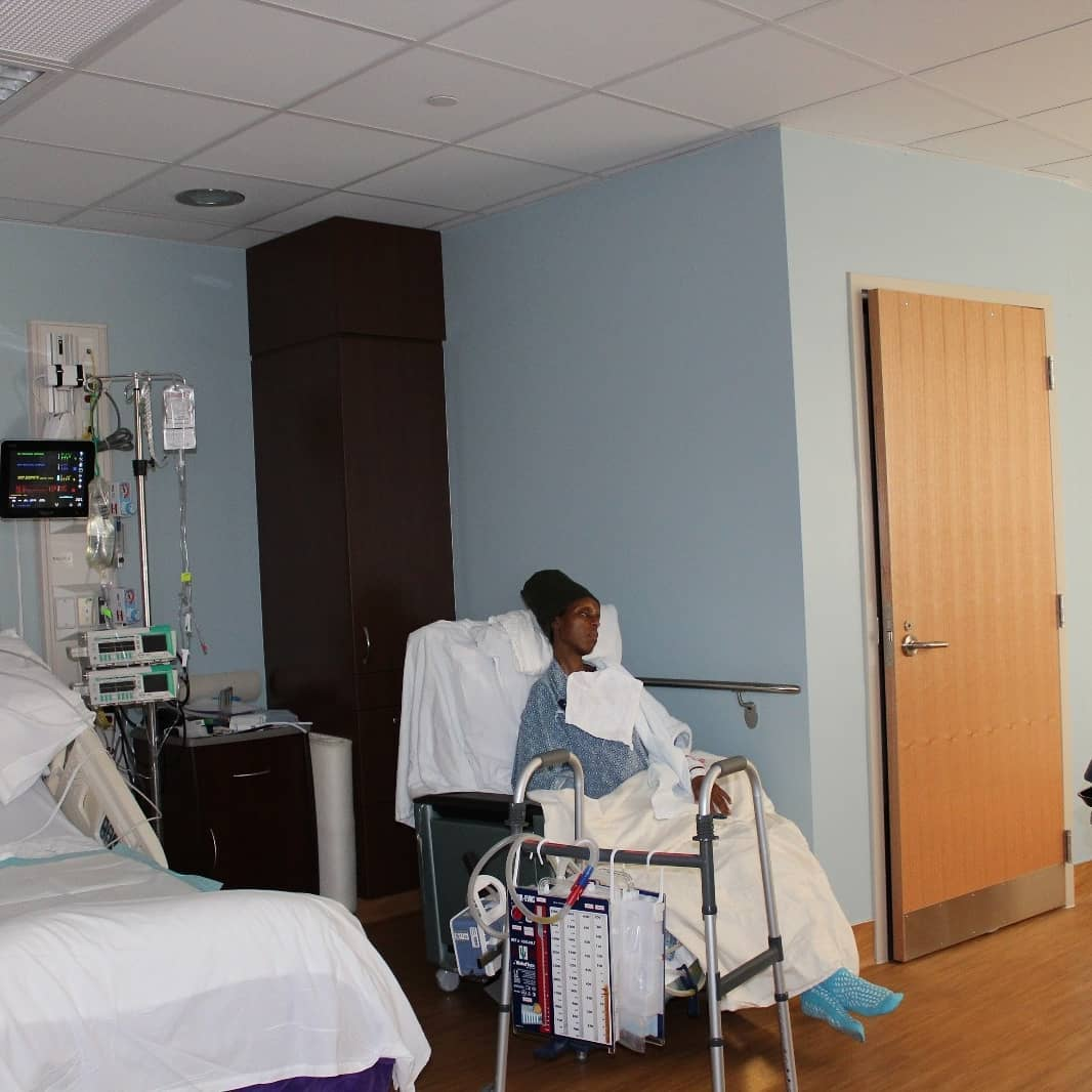 Njambi Koikai recuperating in hospital