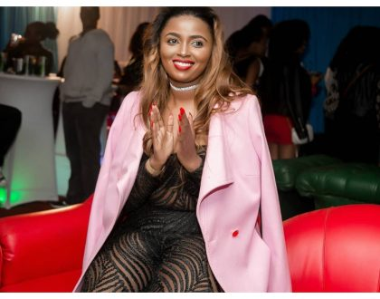 Ezekiel Mutua come see this! Anerlisa Muigai shows skin in ablack see-through jumpsuit (Photos)