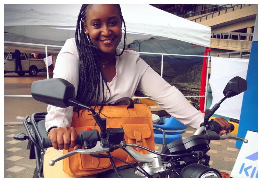 Mercy Kyallo shows her skills after winningbrand new K150 motorbike (Photos)