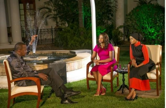 President Uhuru Kenyatta during the interview with Lulu Hassan and Kanze Dena. This photo now hangs on the wall at State House