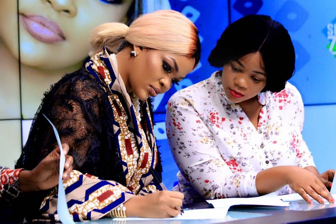Wema Sepetu with her manager Neema Ndepanya