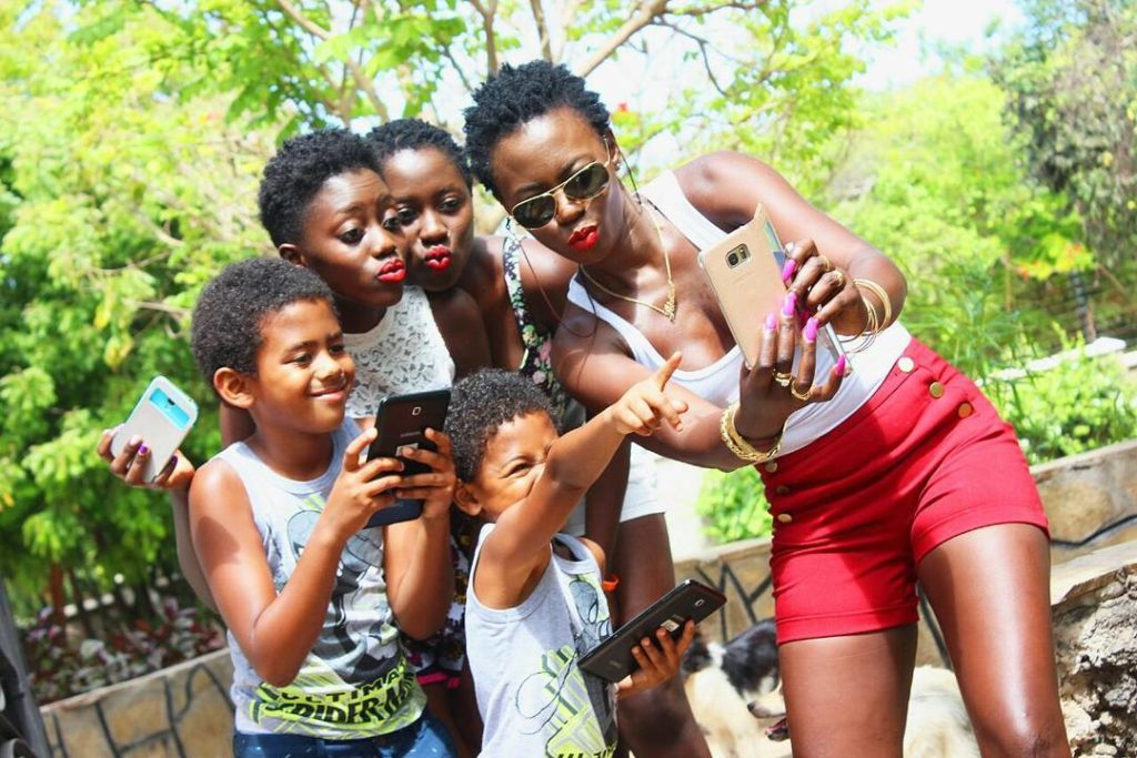Akothee with some of her children