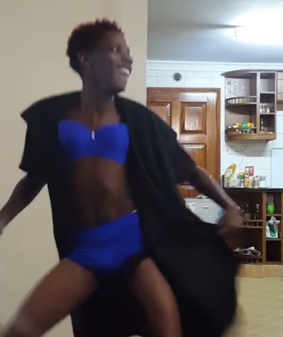 Whose man is this? Eric Omondi puts on bra and pantie to troll singer Akothee (video)