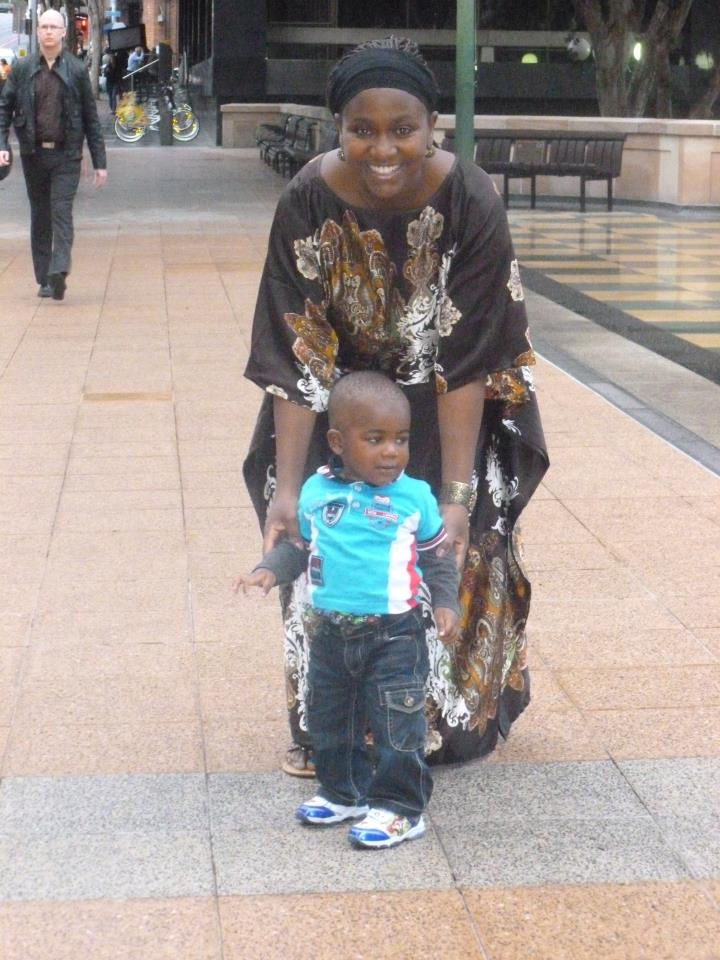Esther Arunga with her son