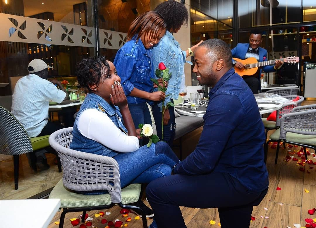 Jacque Maribe and Jowi during the proposal