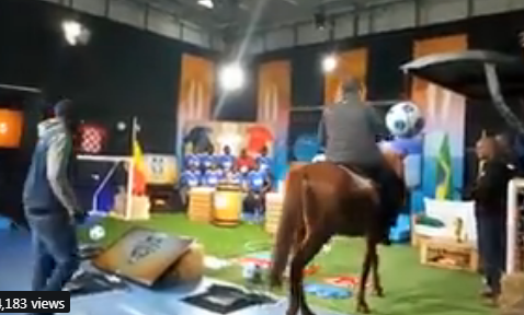 Jeff Koinange ditches his Mercedes Benz and heads to studio on a horse(video)