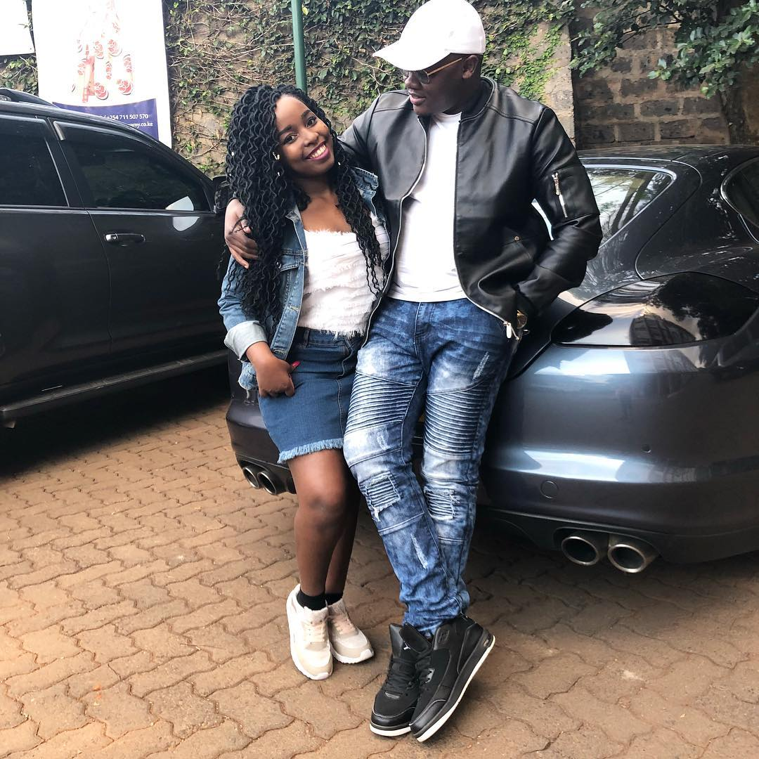Saumu Mbuvi with her current boyfriend