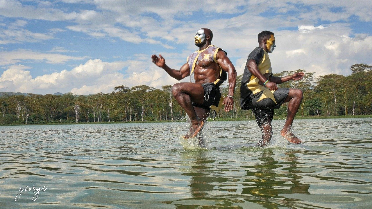 The two bodybuilders during the photoshoot at Lake Nakuru. Photo/George Owour and Collo Sanchez