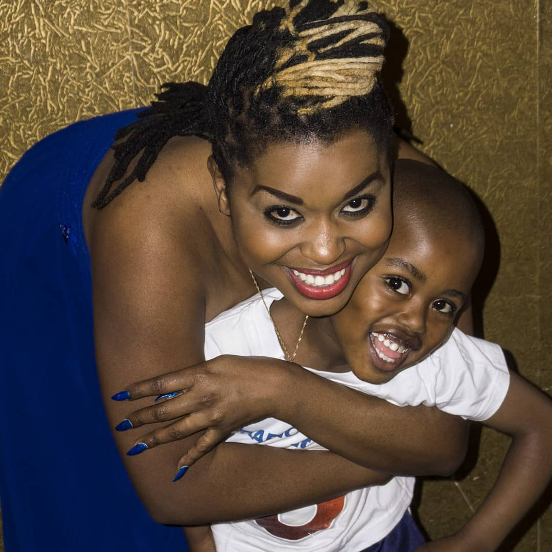 MwendeMacharia with her son