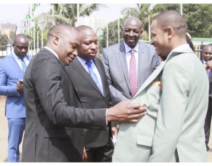 Fashion faceoff: Who wore it better? Babu Owino and Jaguar can't agree who between them is more handsome in a suit (Photos)