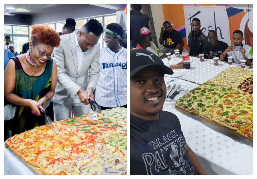 Man nearly loses breath while trying to beat DJ Mo's pizza eating record (Photos)