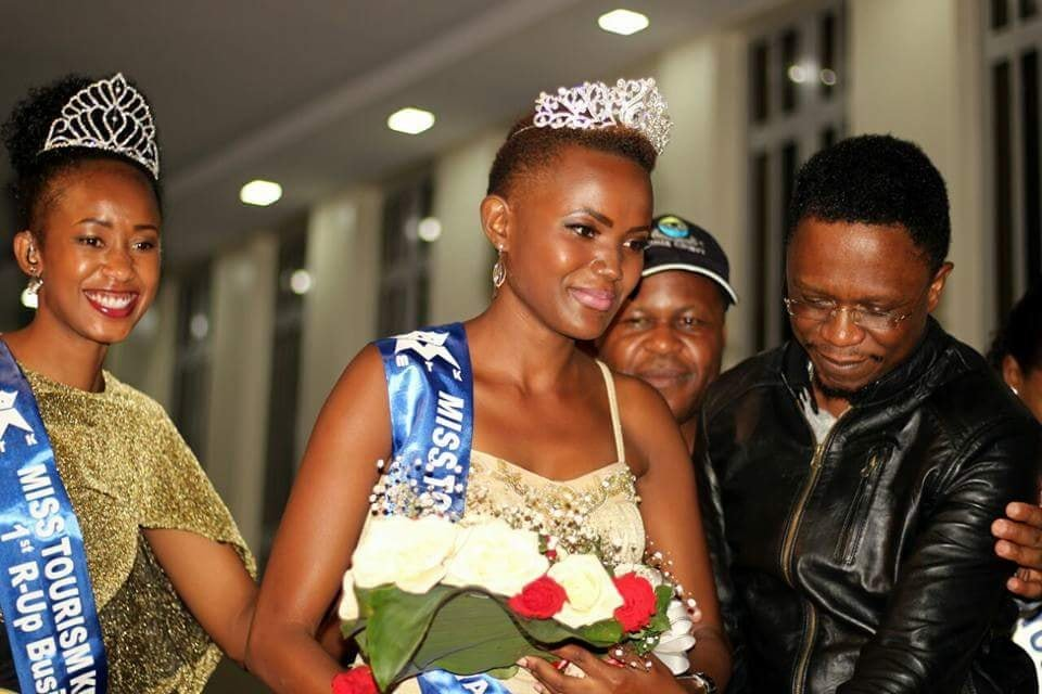 Ababu Namwamba with Ann Paula Machio during the beauty pageant in Busia