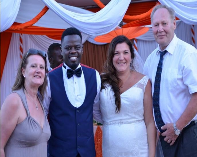Ninja with his bride and her parents during the wedding in January 2018