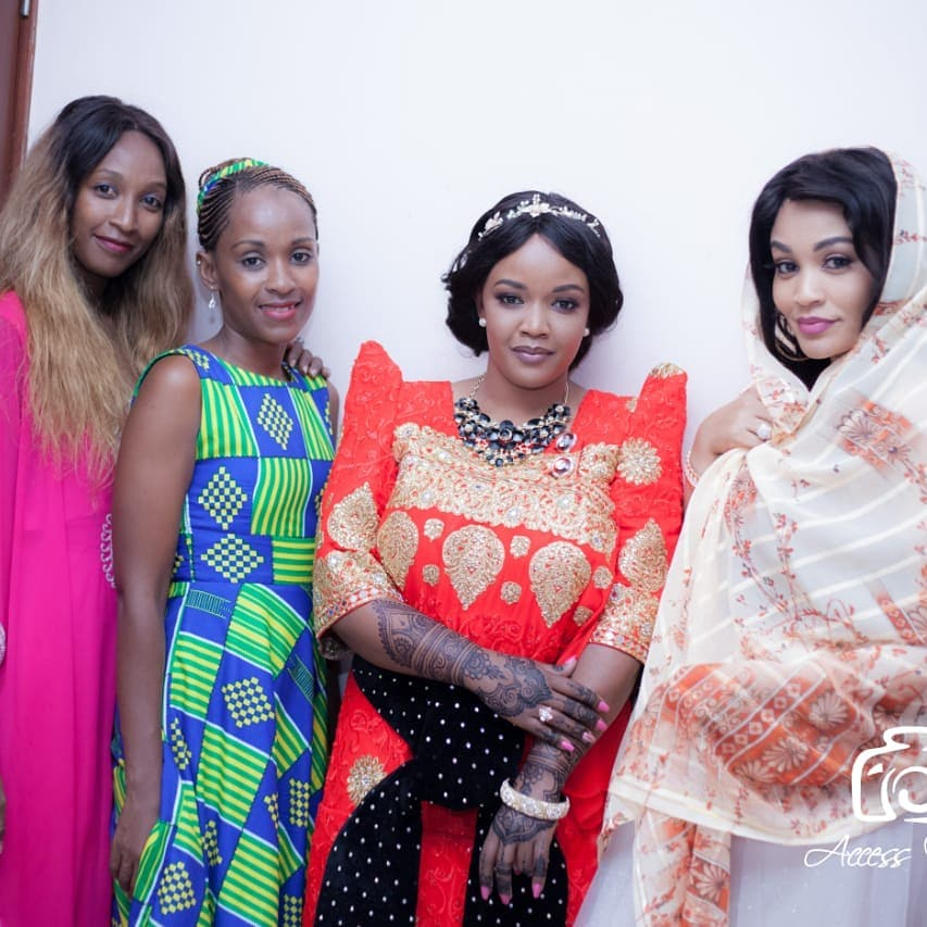 Zuleha Hassan (third on left) with her sisters Zahra (first on left) and Zari Hassan during her traditional wedding