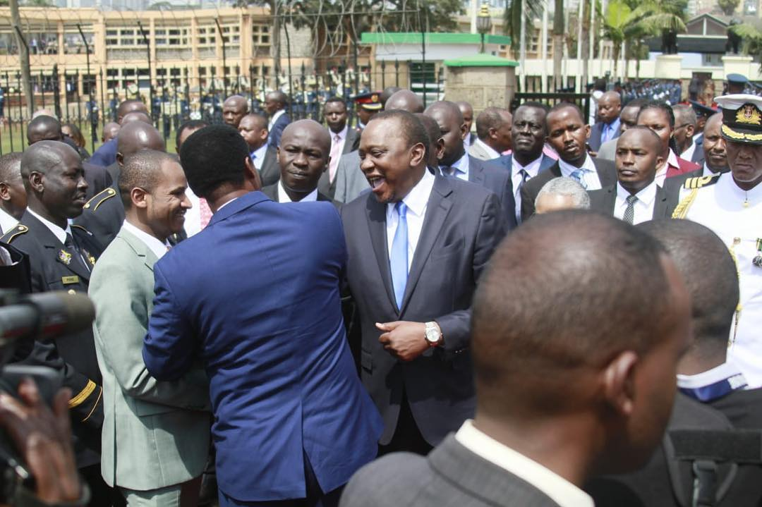 Babu Owino with Uhuru Kenyatta when they attended Mzee Jomo Kenyatta's memorial on 22nd August 2018