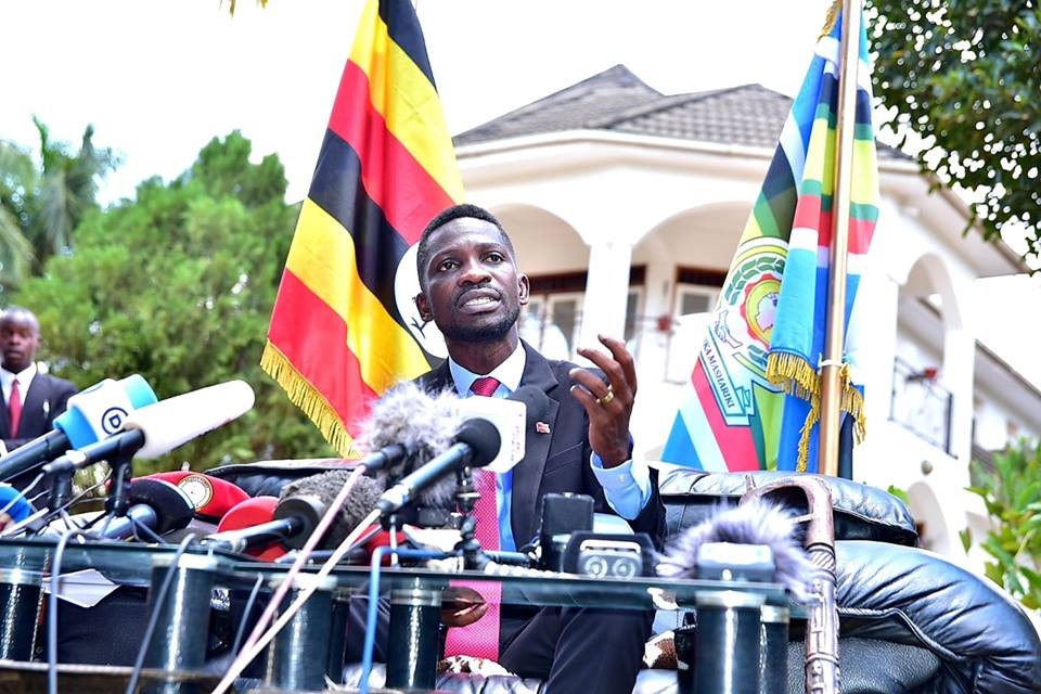 Bobi Wine during a press conference at his home